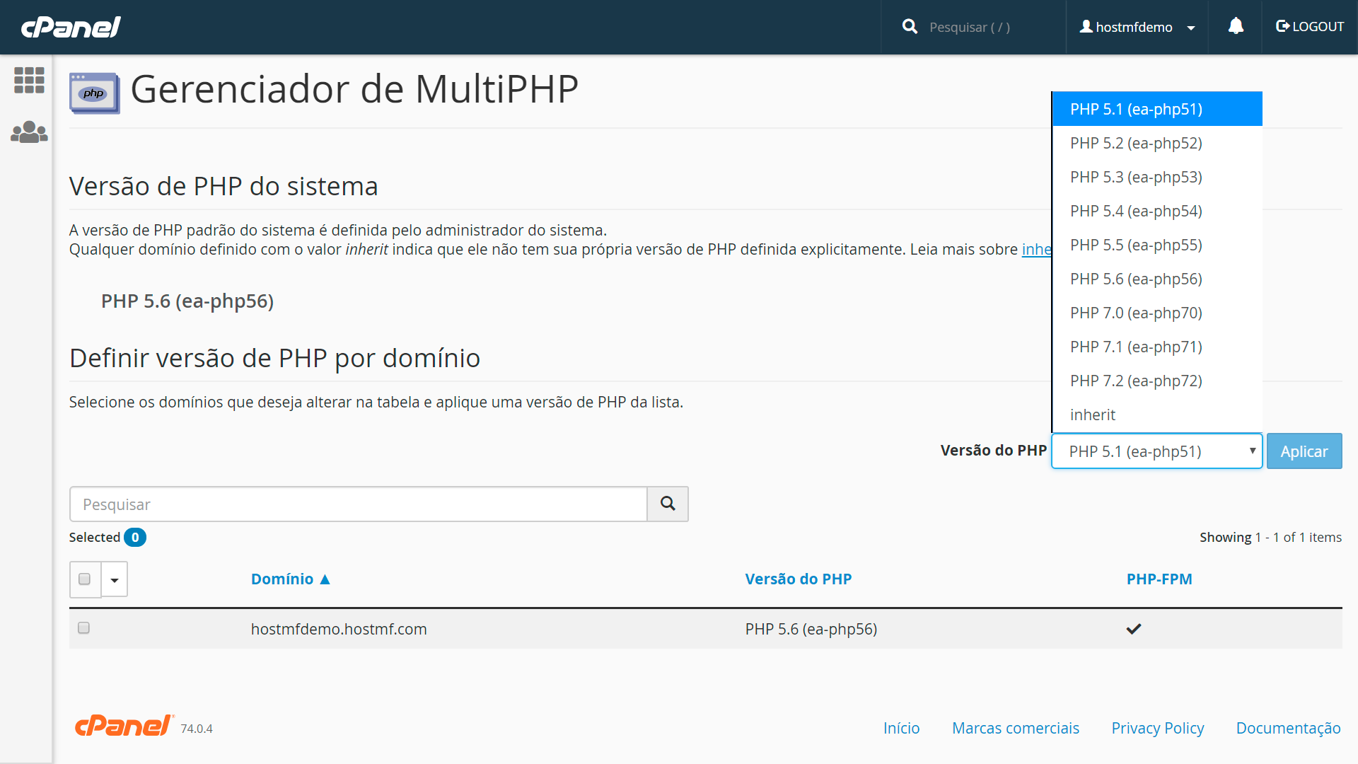 cPanel MultiPHP