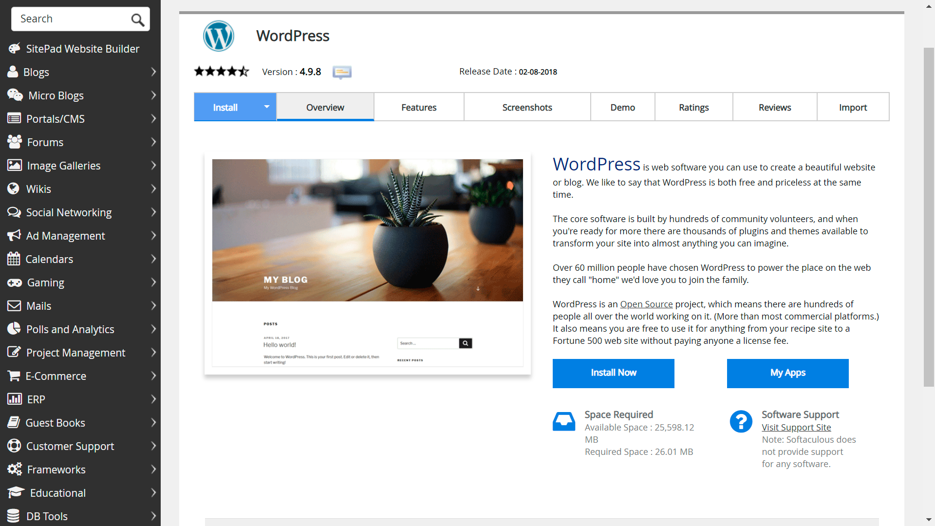 cPanel Softaculous Install Wordpress