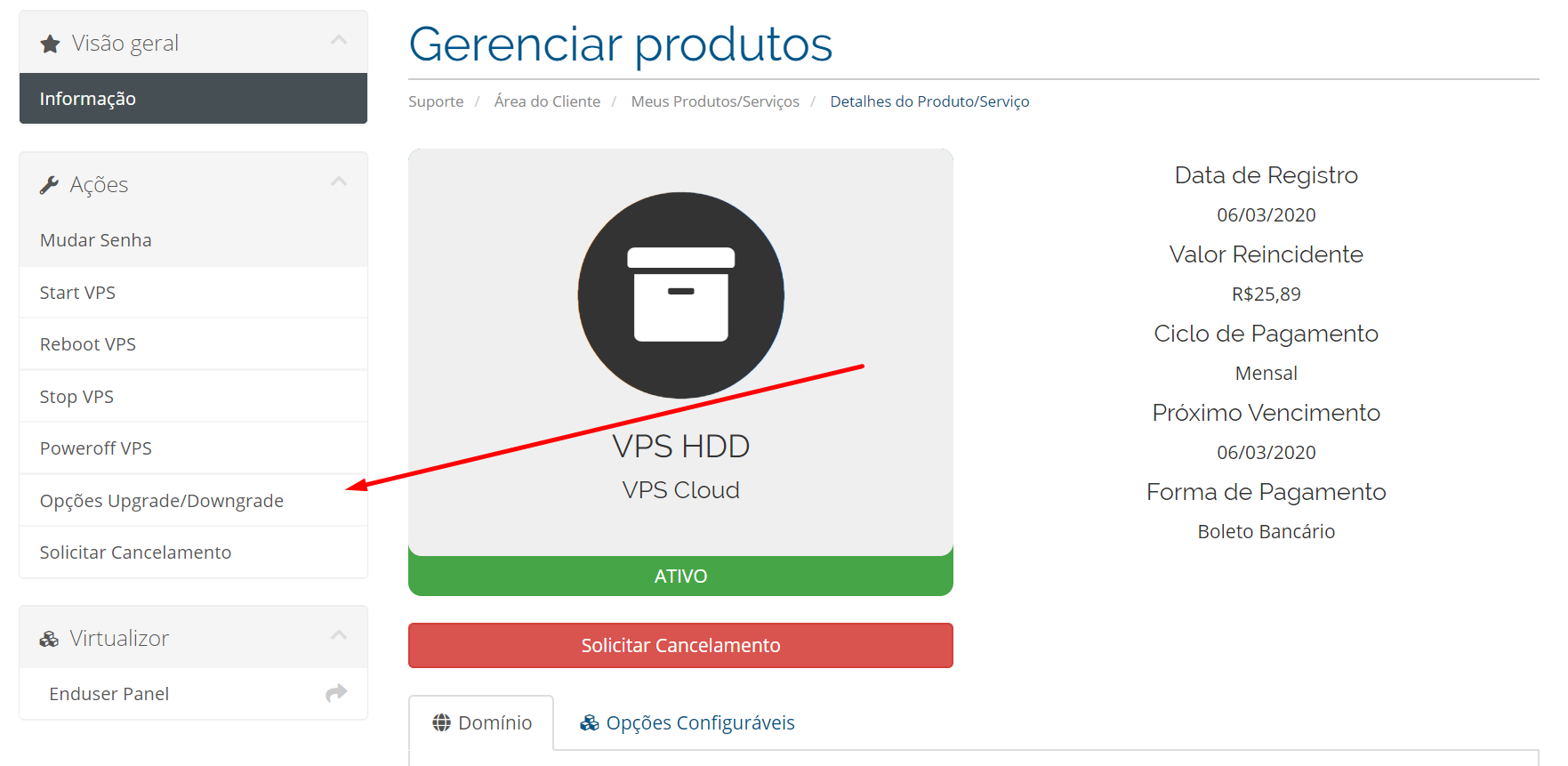 Upgrade/Downgrade VPS passo 2